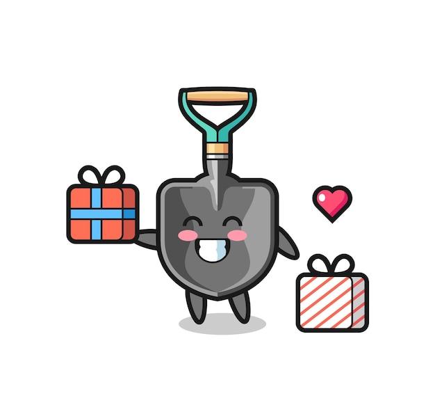 Desenho do mascote com pá dando o presente, design fofo