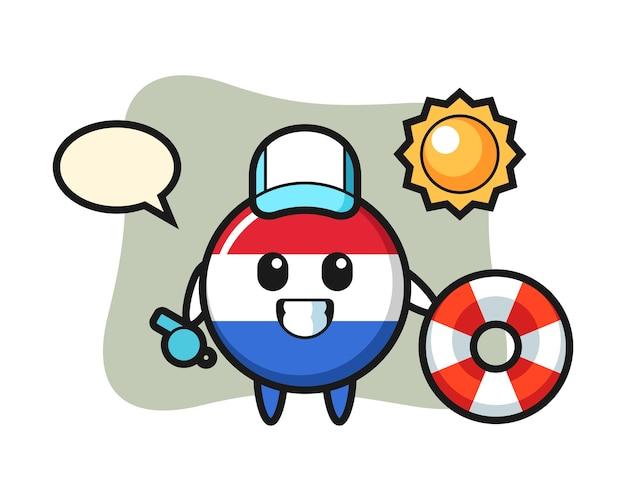 Desenho do mascote da bandeira da holanda como guarda de praia