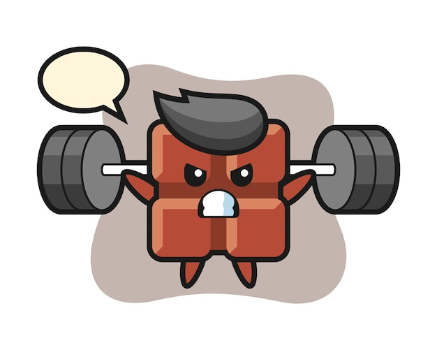 Desenho do mascote da barra de chocolate com uma barra, estilo kawaii fofo.
