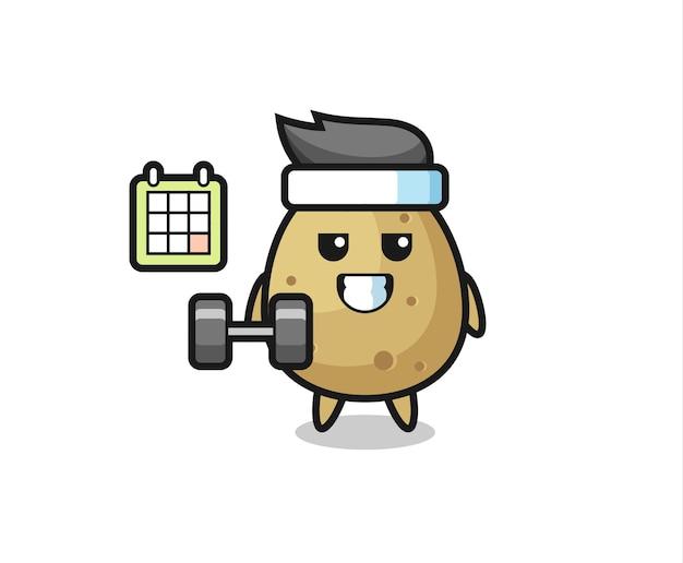 Desenho do mascote da batata fazendo exercícios com halteres, design de estilo fofo para camiseta, adesivo, elemento de logotipo
