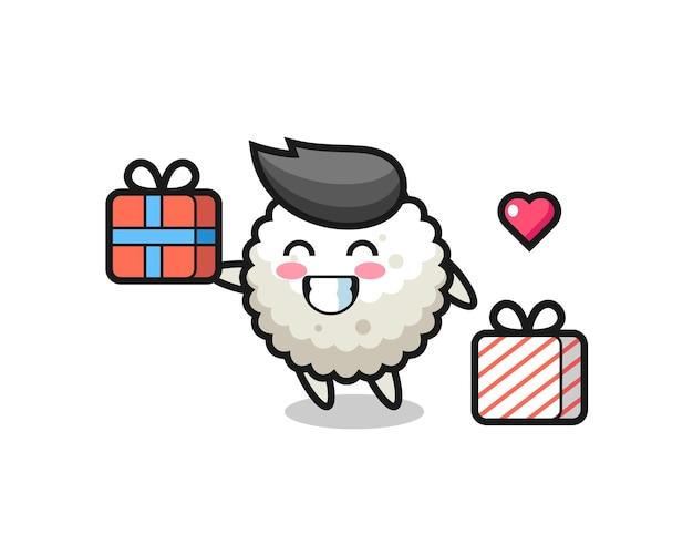 Desenho do mascote da bola de arroz dando o presente, design de estilo fofo para camiseta, adesivo, elemento de logotipo