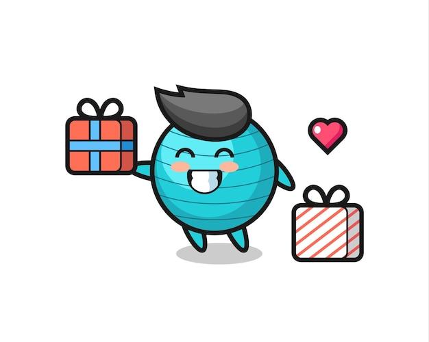 Desenho do mascote da bola de exercícios dando o presente, design de estilo fofo para camiseta, adesivo, elemento de logotipo