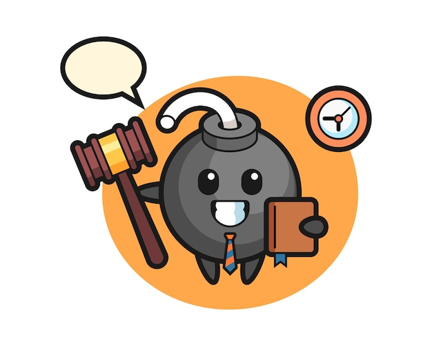 Desenho do mascote da bomba como juiz