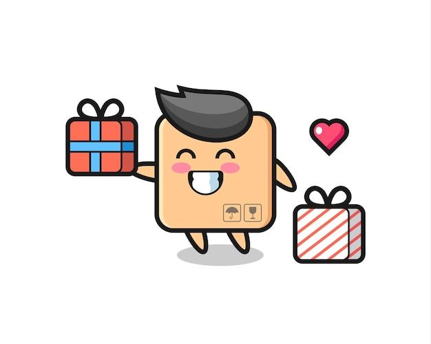 Desenho do mascote da caixa de papelão dando o presente, design de estilo fofo para camiseta, adesivo, elemento de logotipo