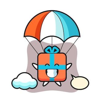 Desenho do mascote da caixa de presente fazendo paraquedismo com um gesto feliz