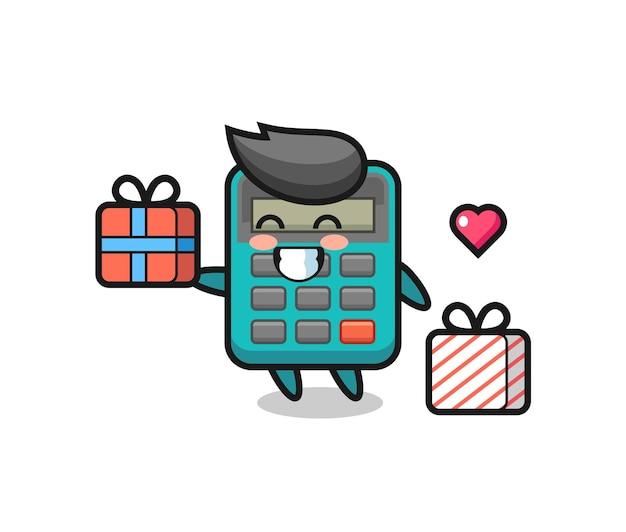 Desenho do mascote da calculadora dando o presente, design de estilo fofo para camiseta, adesivo, elemento de logotipo