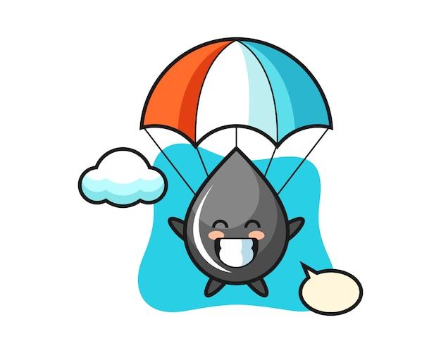 Desenho do mascote da gota de óleo fazendo paraquedismo com gesto feliz