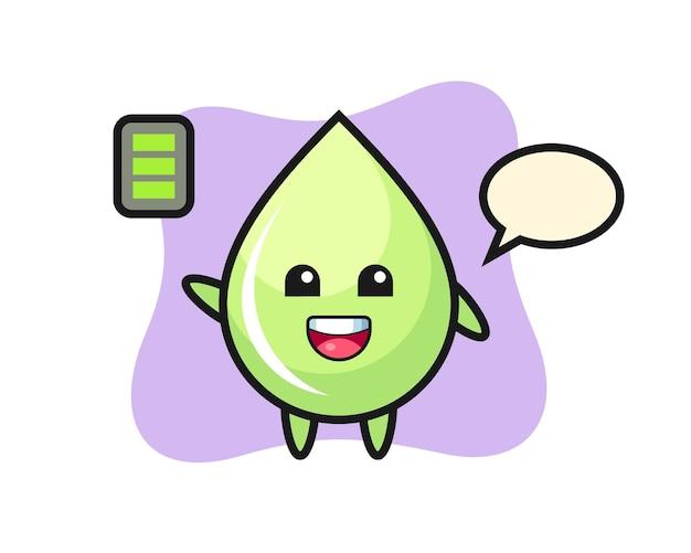 Desenho do mascote da gota de suco de melão com gesto enérgico, design de estilo fofo para camiseta, adesivo, elemento de logotipo