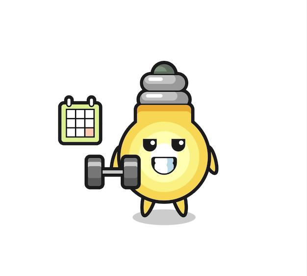 Desenho do mascote da lâmpada fazendo exercícios com halteres, design de estilo fofo para camiseta, adesivo, elemento de logotipo