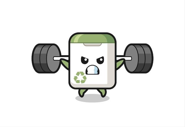 Desenho do mascote da lata de lixo com uma barra, design de estilo fofo para camiseta, adesivo, elemento de logotipo