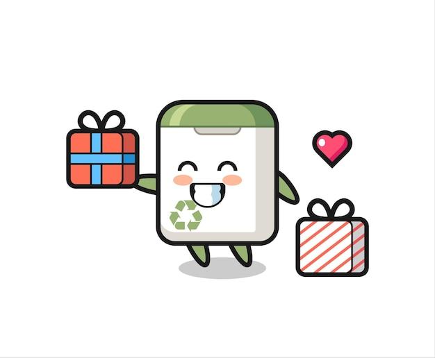 Desenho do mascote da lata de lixo dando o presente, design de estilo fofo para camiseta, adesivo, elemento de logotipo