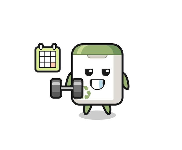 Desenho do mascote da lata de lixo fazendo exercícios com halteres, design de estilo fofo para camiseta, adesivo, elemento de logotipo
