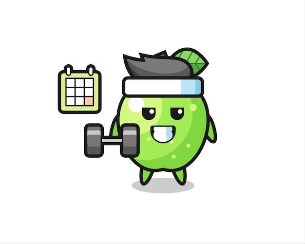 Desenho do mascote da maçã verde fazendo exercícios com halteres, design de estilo fofo para camiseta, adesivo, elemento de logotipo