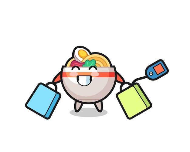 Desenho do mascote da tigela de macarrão segurando uma sacola de compras, design de estilo fofo para camiseta, adesivo, elemento de logotipo