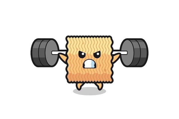 Desenho do mascote de macarrão instantâneo cru com uma barra, design de estilo fofo para camiseta, adesivo, elemento de logotipo
