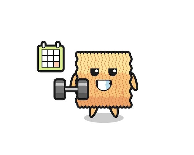 Desenho do mascote de macarrão instantâneo cru fazendo exercícios com halteres, design de estilo fofo para camiseta, adesivo, elemento de logotipo