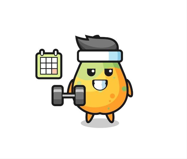 Desenho do mascote de mamão fazendo exercícios com halteres, design de estilo fofo para camiseta, adesivo, elemento de logotipo