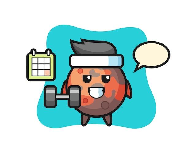 Desenho do mascote de marte fazendo exercícios com halteres, design de estilo fofo para camiseta, adesivo, elemento de logotipo