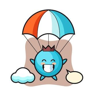 Desenho do mascote de mirtilo fazendo paraquedismo com um gesto feliz