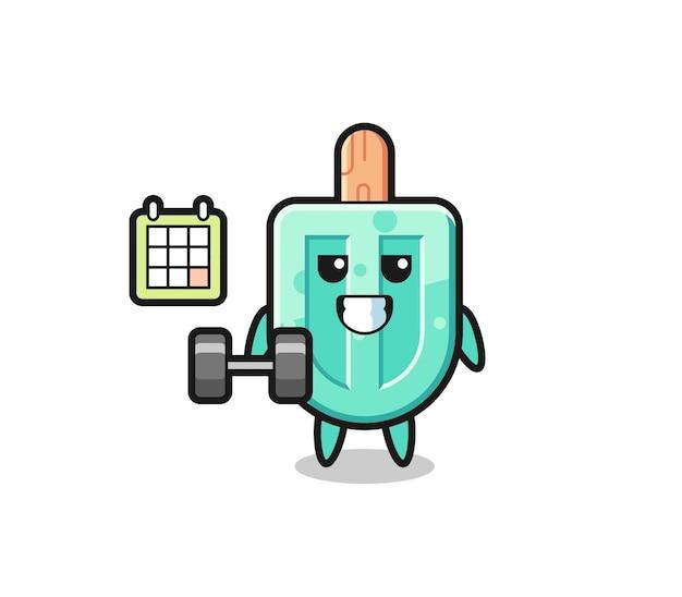 Desenho do mascote de picolé fazendo exercícios com halteres, design fofo