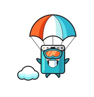 Desenho do mascote do banco de potência está fazendo paraquedismo com gesto feliz, design de estilo fofo para camiseta, adesivo, elemento de logotipo