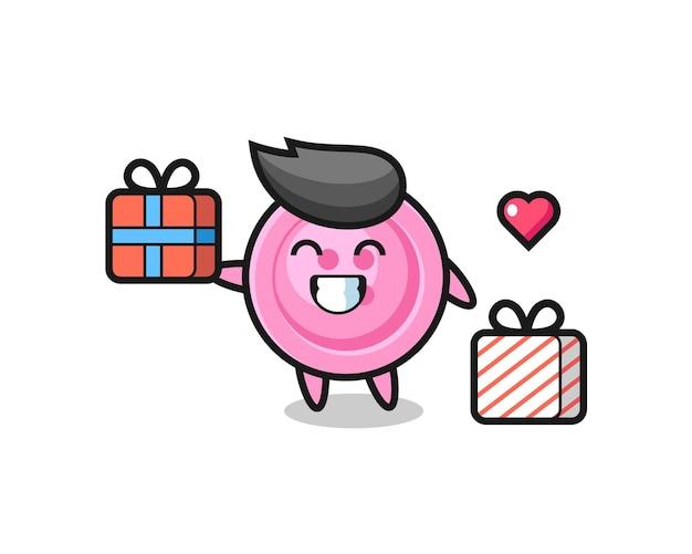Desenho do mascote do botão da roupa dando o presente, design bonito