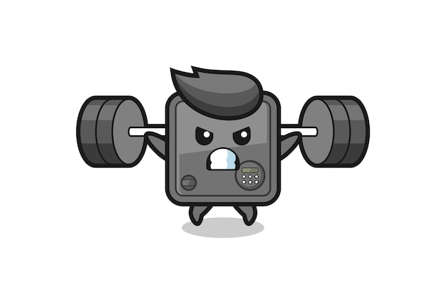 Desenho do mascote do cofre com uma barra, design de estilo fofo para camiseta, adesivo, elemento de logotipo