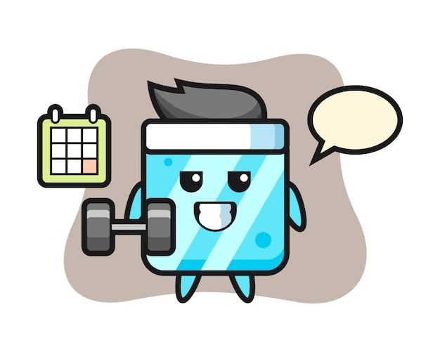 Desenho do mascote do cubo de gelo fazendo exercícios com halteres
