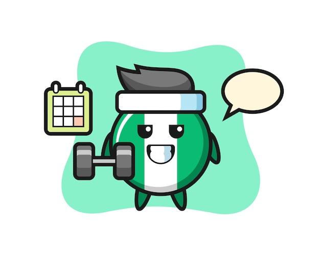Desenho do mascote do distintivo da bandeira da nigéria fazendo exercícios com halteres, design de estilo fofo para camiseta, adesivo, elemento de logotipo