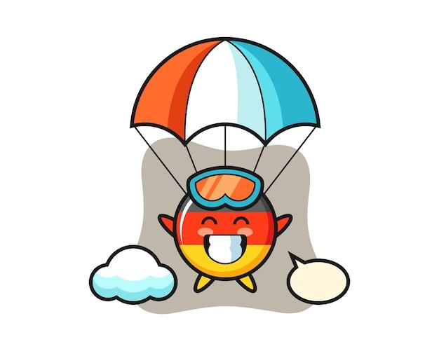 Desenho do mascote do emblema da bandeira da alemanha fazendo paraquedismo com gesto feliz