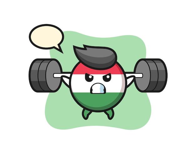 Desenho do mascote do emblema da bandeira da hungria com uma barra, design de estilo fofo para camiseta, adesivo, elemento de logotipo