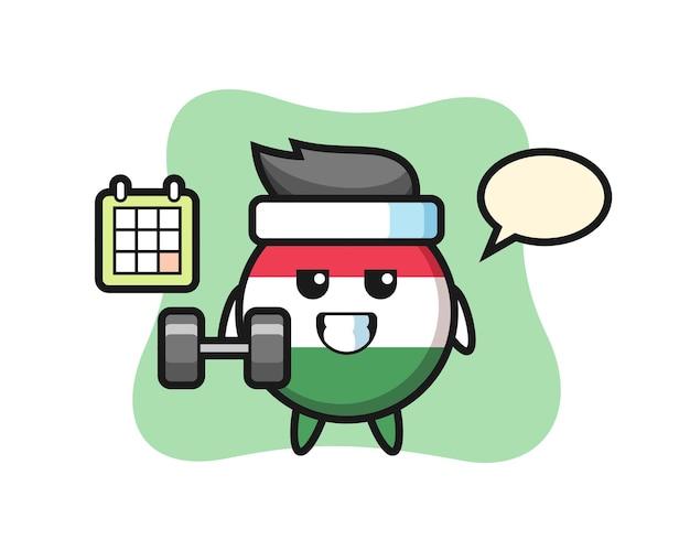 Desenho do mascote do emblema da bandeira da hungria fazendo exercícios com halteres, design de estilo fofo para camiseta, adesivo, elemento de logotipo