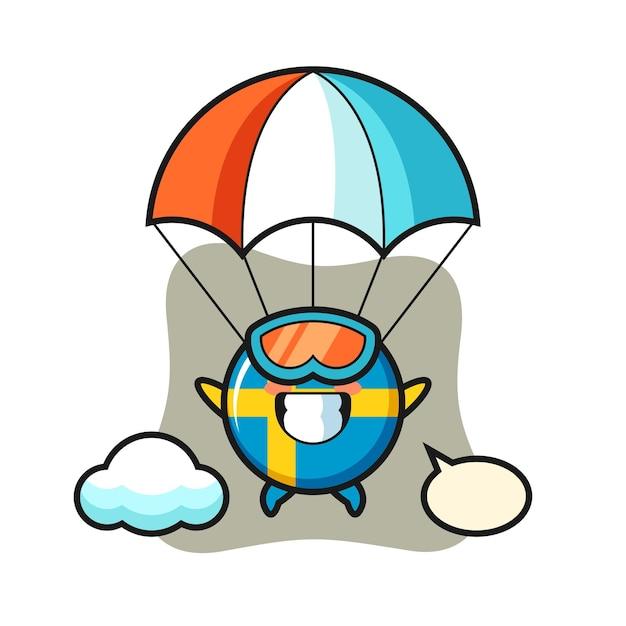 Desenho do mascote do emblema da bandeira da suécia está fazendo paraquedismo com um gesto feliz, design de estilo fofo para camiseta, adesivo, elemento de logotipo