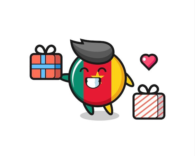 Desenho do mascote do emblema da bandeira dos camarões dando o presente, design de estilo fofo para camiseta, adesivo, elemento de logotipo
