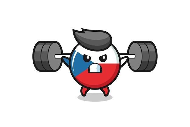 Desenho do mascote do emblema da bandeira tcheca com uma barra, design de estilo fofo para camiseta, adesivo, elemento de logotipo
