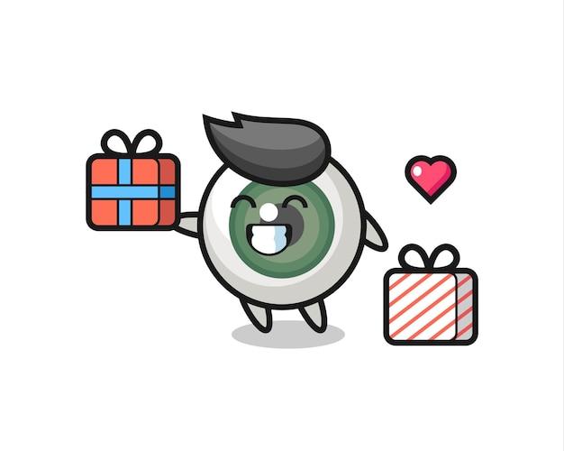 Desenho do mascote do globo ocular dando o presente, design de estilo fofo para camiseta, adesivo, elemento de logotipo