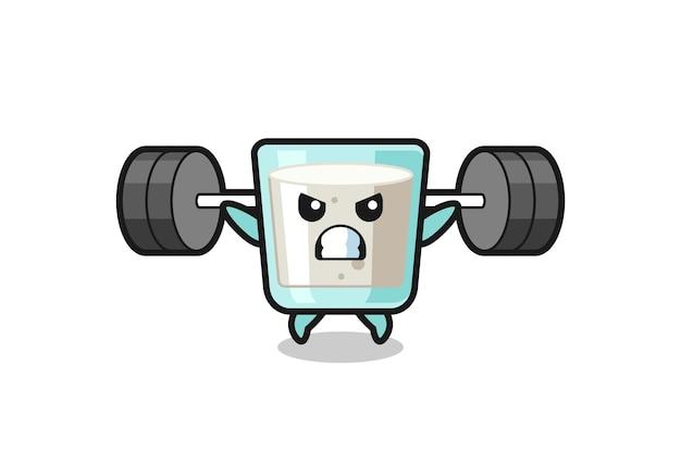Desenho do mascote do leite com uma barra, design de estilo fofo para camiseta, adesivo, elemento de logotipo