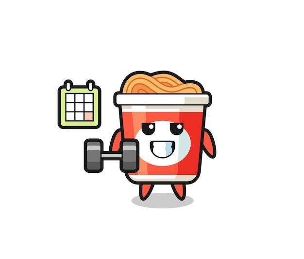 Desenho do mascote do macarrão instantâneo fazendo exercícios com halteres, design de estilo fofo para camiseta, adesivo, elemento de logotipo