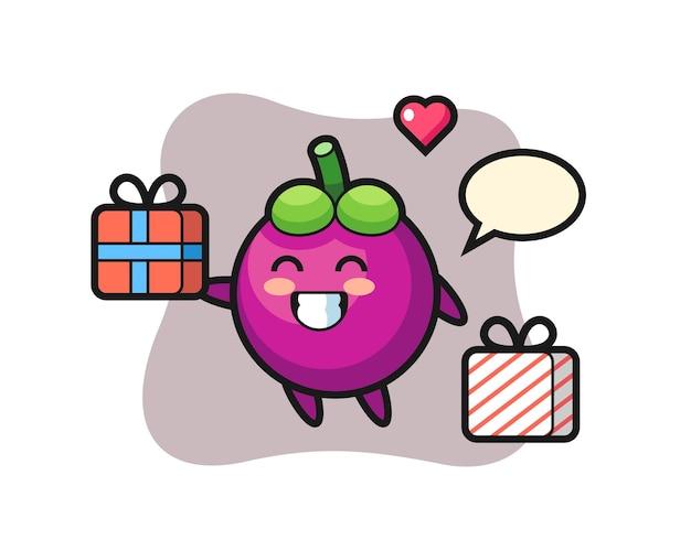 Desenho do mascote do mangostão dando o presente, design de estilo fofo para camiseta, adesivo, elemento de logotipo