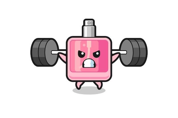 Desenho do mascote do perfume com uma barra, design de estilo fofo para camiseta, adesivo, elemento de logotipo