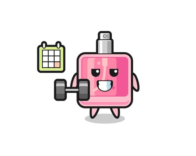 Desenho do mascote do perfume fazendo exercícios com halteres, design de estilo fofo para camiseta, adesivo, elemento de logotipo