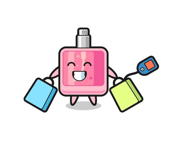 Desenho do mascote do perfume segurando uma sacola de compras, design de estilo fofo para camiseta, adesivo, elemento de logotipo