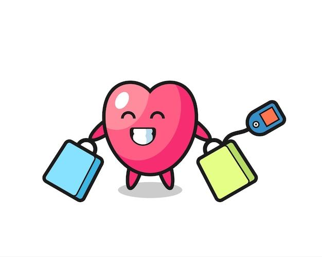 Desenho do mascote do símbolo do coração segurando uma sacola de compras, design de estilo fofo para camiseta, adesivo, elemento de logotipo
