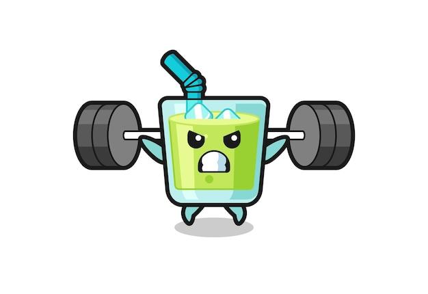 Desenho do mascote do suco de melão com uma barra, design de estilo fofo para camiseta, adesivo, elemento de logotipo