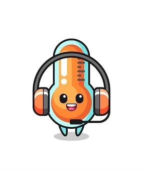 Desenho do mascote do termômetro como serviço de atendimento ao cliente