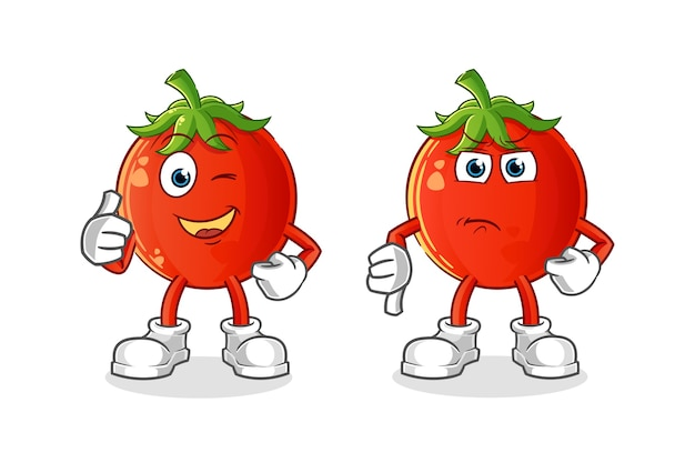 Desenho do mascote do tomate com o polegar para cima e o polegar para baixo