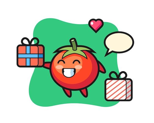 Desenho do mascote dos tomates dando o presente, design de estilo fofo para camiseta, adesivo, elemento de logotipo