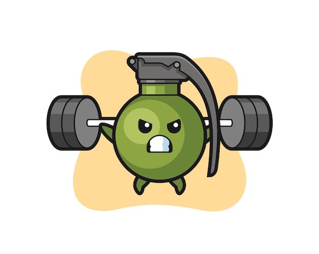 Desenho do mascote grenade com uma barra, design de estilo fofo para camiseta, adesivo, elemento de logotipo