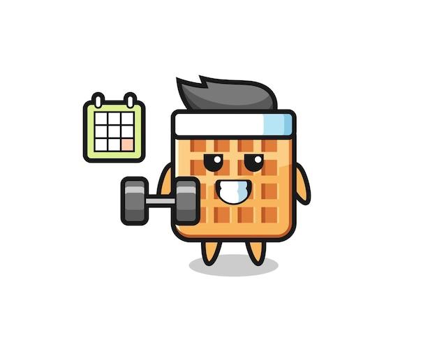 Desenho do mascote waffle fazendo exercícios com halteres, design fofo