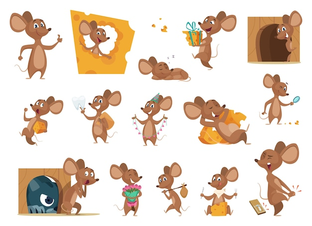 Desenho do mouse. pequenos ratos em ação representam personagens de vetor de animais de laboratório, mascote amigável. ilustração de rato comendo queijo e situação com gato